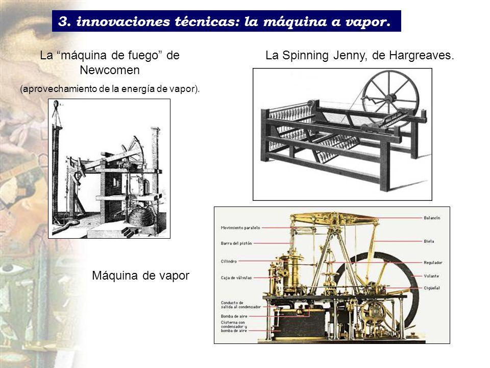 3. innovaciones técnicas: la máquina a vapor. La máquina de fuego de Newcomen (aprovechamiento de la energía de vapor). La Spinning Jenny, de Hargreav