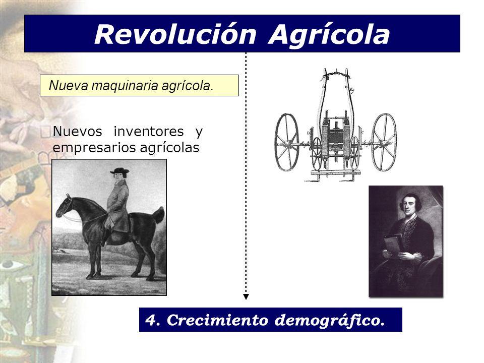Revolución Agrícola Nueva maquinaria agrícola. Nuevos inventores y empresarios agrícolas 4. Crecimiento demográfico.