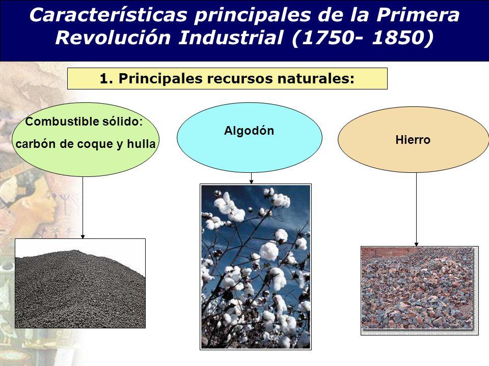 Características principales de la Primera Revolución Industrial (1750- 1850) 1. Principales recursos naturales: Combustible sólido: carbón de coque y