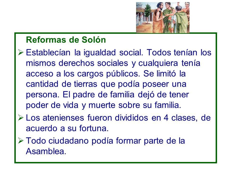 Reformas de Solón Establecían la igualdad social. Todos tenían los mismos derechos sociales y cualquiera tenía acceso a los cargos públicos. Se limitó
