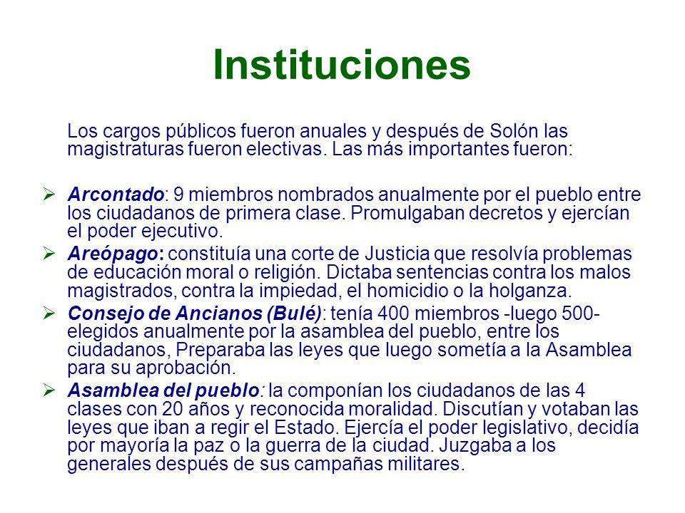 Instituciones Los cargos públicos fueron anuales y después de Solón las magistraturas fueron electivas. Las más importantes fueron: Arcontado: 9 miemb