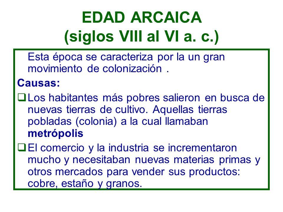 EDAD ARCAICA (siglos VIII al VI a. c.) Esta época se caracteriza por la un gran movimiento de colonización. Causas: Los habitantes más pobres salieron