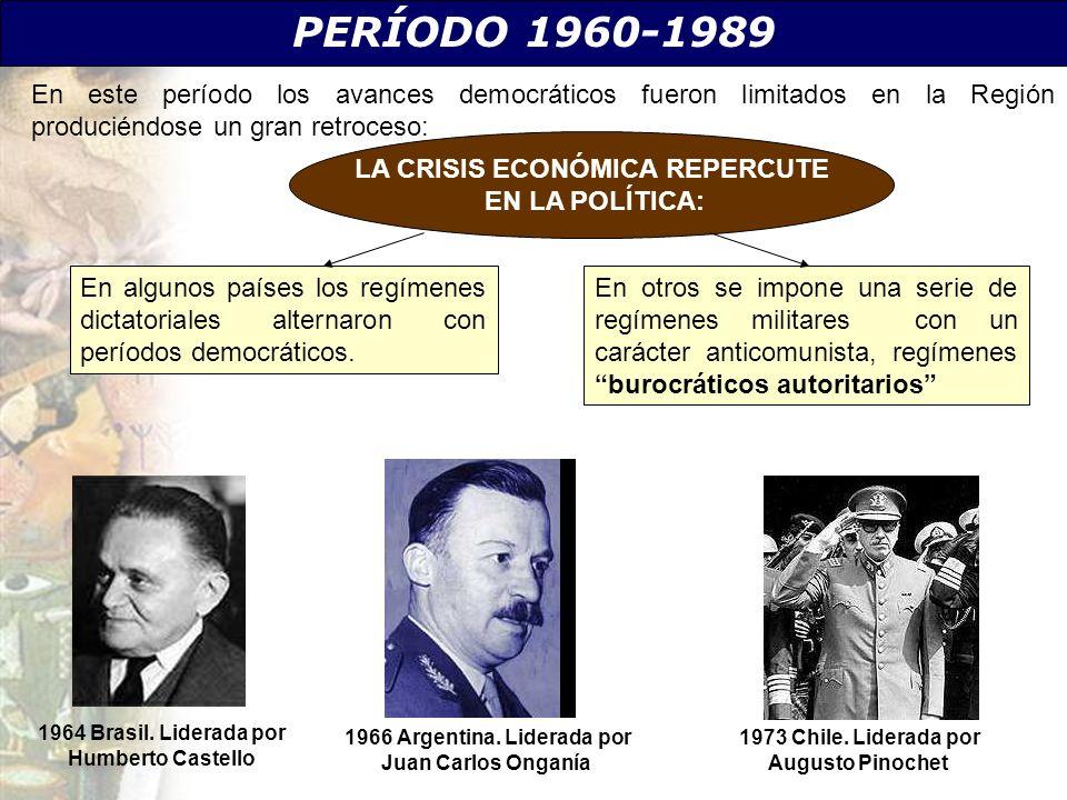 1964 Brasil. Liderada por Humberto Castello 1966 Argentina. Liderada por Juan Carlos Onganía PERÍODO 1960-1989 En este período los avances democrático