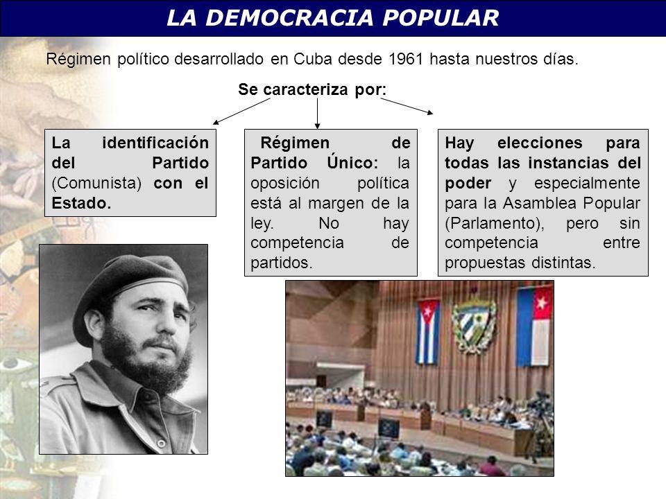 LA DEMOCRACIA POPULAR Régimen político desarrollado en Cuba desde 1961 hasta nuestros días. Se caracteriza por: La identificación del Partido (Comunis