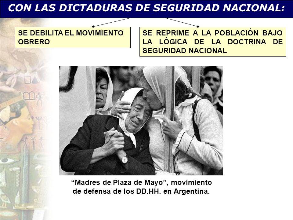 Madres de Plaza de Mayo, movimiento de defensa de los DD.HH. en Argentina. CON LAS DICTADURAS DE SEGURIDAD NACIONAL: SE DEBILITA EL MOVIMIENTO OBRERO
