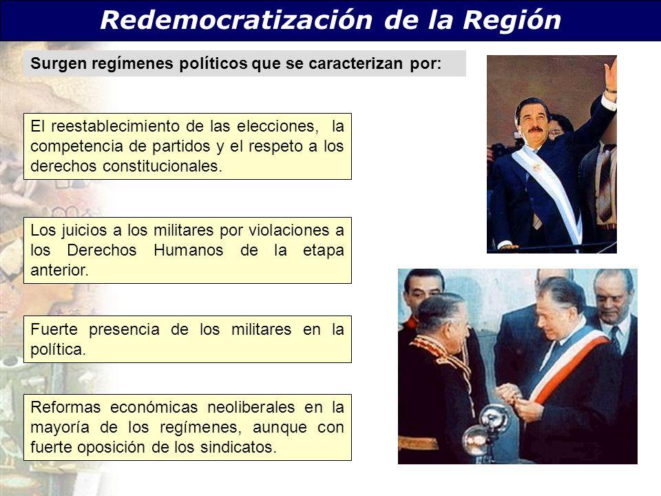 Redemocratización de la Región Surgen regímenes políticos que se caracterizan por: Reformas económicas neoliberales en la mayoría de los regímenes, au