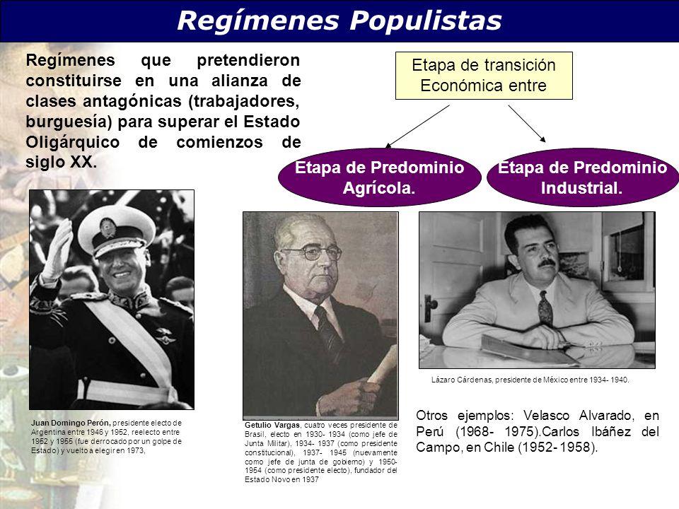 Regímenes Populistas Regímenes que pretendieron constituirse en una alianza de clases antagónicas (trabajadores, burguesía) para superar el Estado Oli