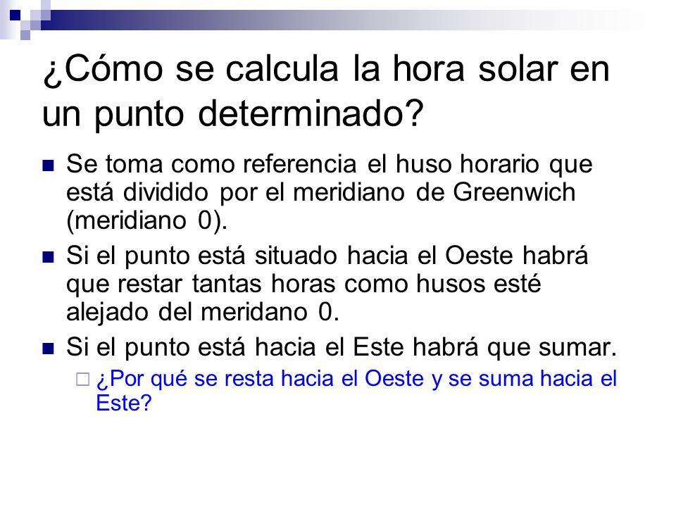 ¿Cómo se calcula la hora solar en un punto determinado? Se toma como referencia el huso horario que está dividido por el meridiano de Greenwich (merid