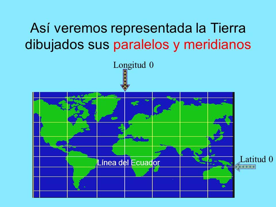 Así veremos representada la Tierra dibujados sus paralelos y meridianos Línea del Ecuador Longitud 0 Latitud 0