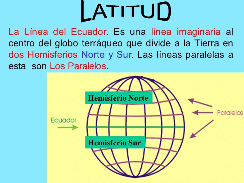 La Línea del Ecuador. Es una línea imaginaria al centro del globo terráqueo que divide a la Tierra en dos Hemisferios Norte y Sur. Las líneas paralela
