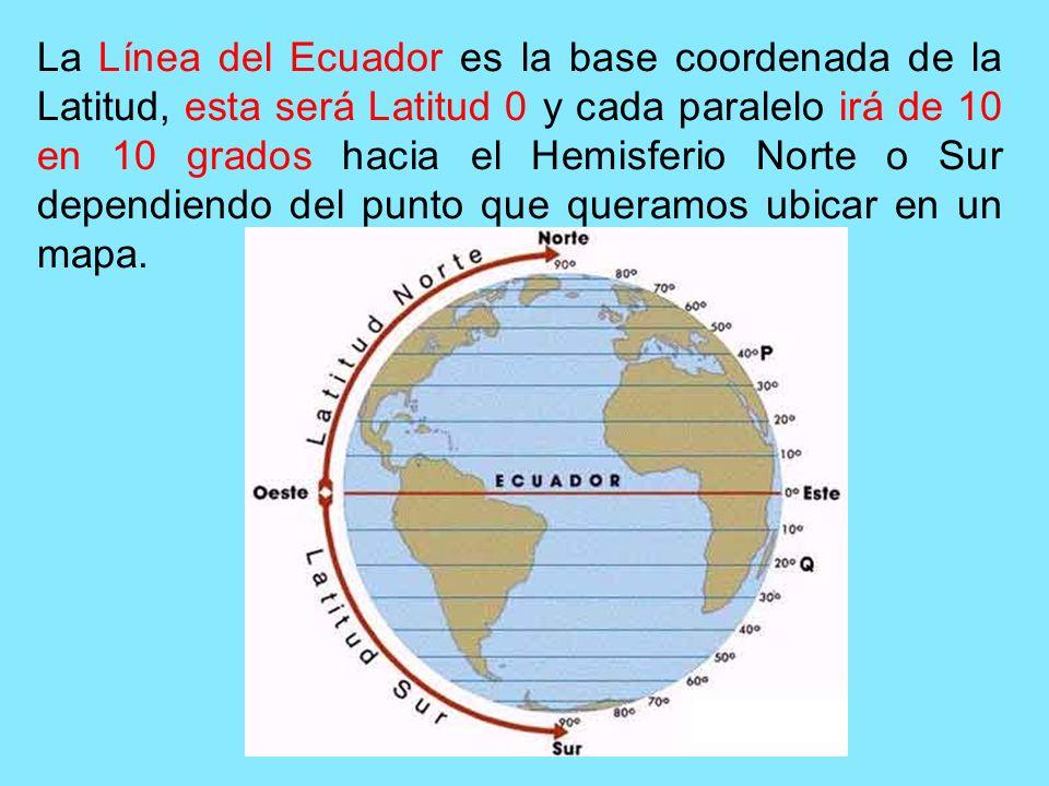 La Línea del Ecuador es la base coordenada de la Latitud, esta será Latitud 0 y cada paralelo irá de 10 en 10 grados hacia el Hemisferio Norte o Sur d