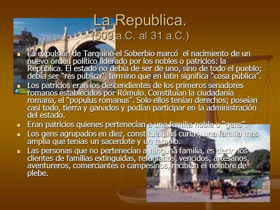 La expulsión de Tarquino el Soberbio marcó el nacimiento de un nuevo orden político liderado por los nobles o patricios: la República.