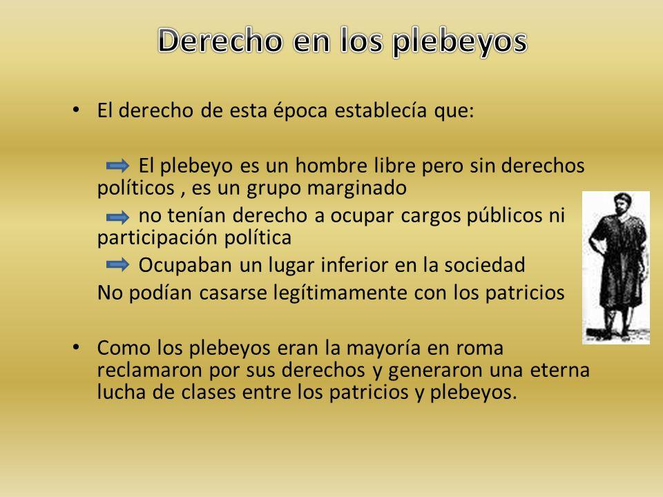 El derecho de esta época establecía que: El plebeyo es un hombre libre pero sin derechos políticos, es un grupo marginado no tenían derecho a ocupar c