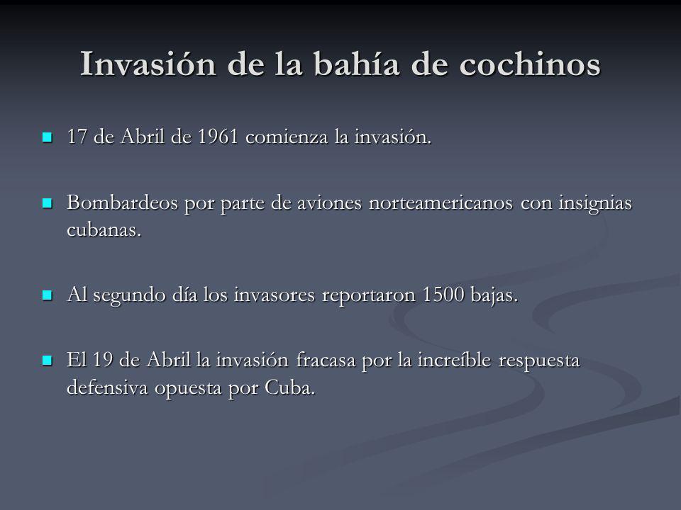 Invasión de la bahía de cochinos 17 de Abril de 1961 comienza la invasión. 17 de Abril de 1961 comienza la invasión. Bombardeos por parte de aviones n