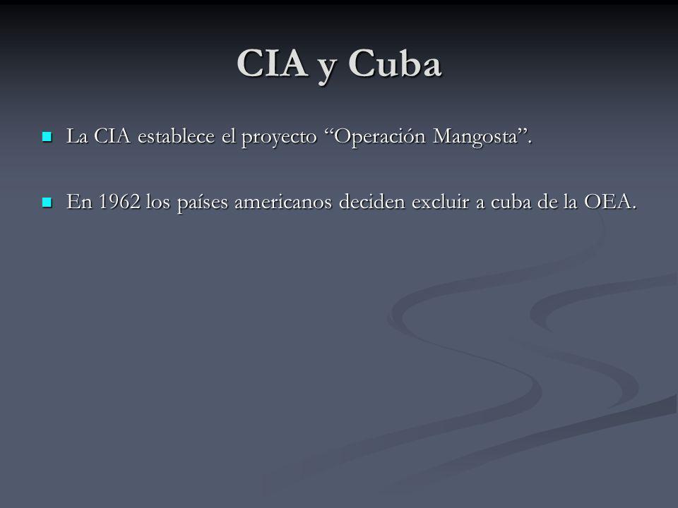 CIA y Cuba La CIA establece el proyecto Operación Mangosta. La CIA establece el proyecto Operación Mangosta. En 1962 los países americanos deciden exc