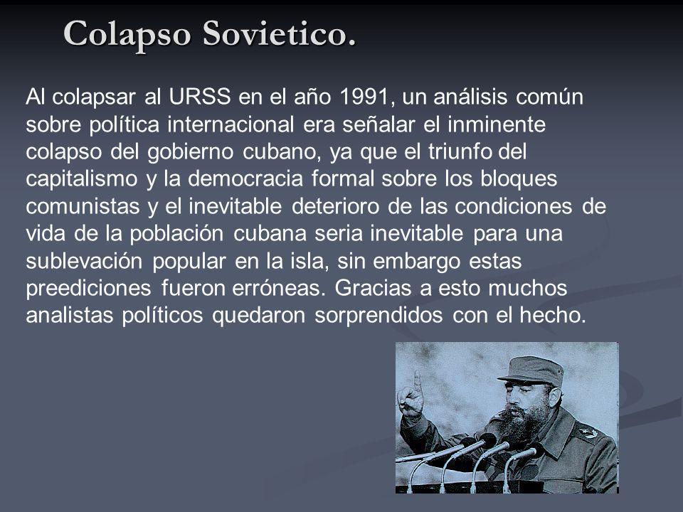 Colapso Sovietico. Al colapsar al URSS en el año 1991, un análisis común sobre política internacional era señalar el inminente colapso del gobierno cu