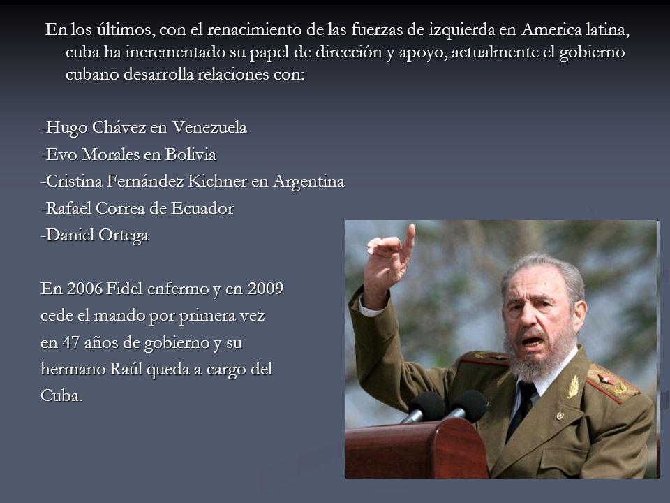 En los últimos, con el renacimiento de las fuerzas de izquierda en America latina, cuba ha incrementado su papel de dirección y apoyo, actualmente el