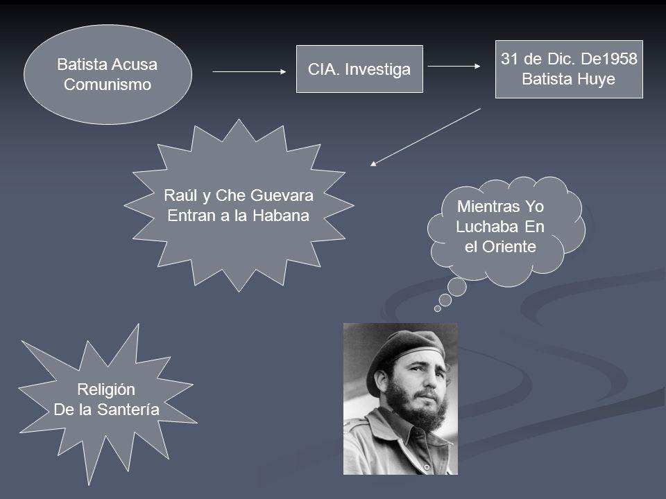 Batista Acusa Comunismo CIA. Investiga 31 de Dic. De1958 Batista Huye Raúl y Che Guevara Entran a la Habana Mientras Yo Luchaba En el Oriente Religión