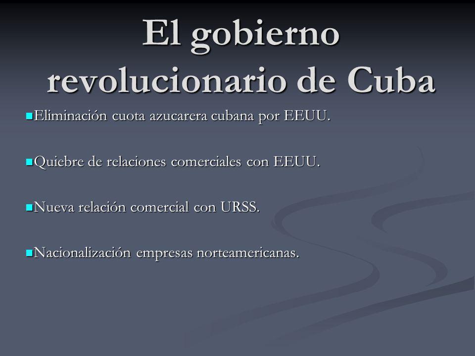 El gobierno revolucionario de Cuba Eliminación cuota azucarera cubana por EEUU. Eliminación cuota azucarera cubana por EEUU. Quiebre de relaciones com