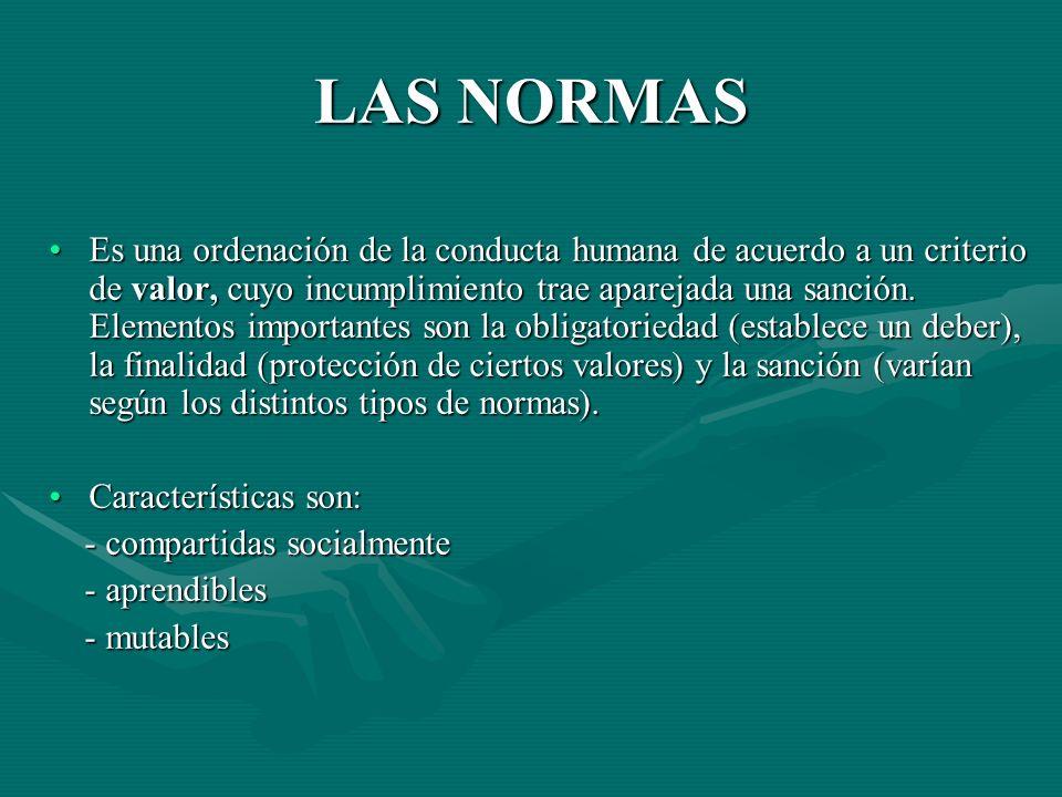 LAS NORMAS Es una ordenación de la conducta humana de acuerdo a un criterio de valor, cuyo incumplimiento trae aparejada una sanción. Elementos import