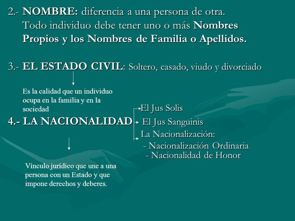 2.- NOMBRE: diferencia a una persona de otra. Todo individuo debe tener uno o más Nombres Todo individuo debe tener uno o más Nombres Propios y los No