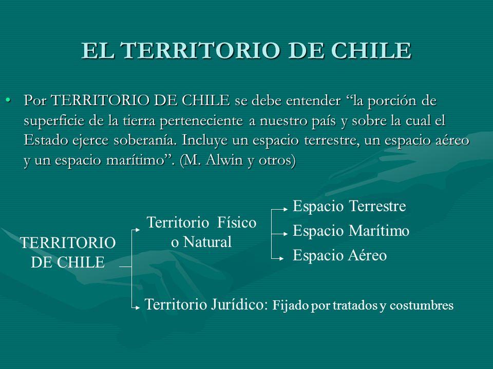 EL TERRITORIO DE CHILE Por TERRITORIO DE CHILE se debe entender la porción de superficie de la tierra perteneciente a nuestro país y sobre la cual el