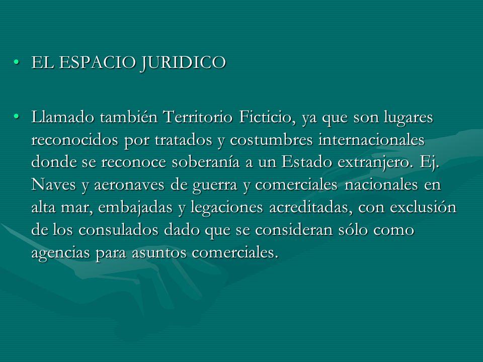 EL ESPACIO JURIDICOEL ESPACIO JURIDICO Llamado también Territorio Ficticio, ya que son lugares reconocidos por tratados y costumbres internacionales d