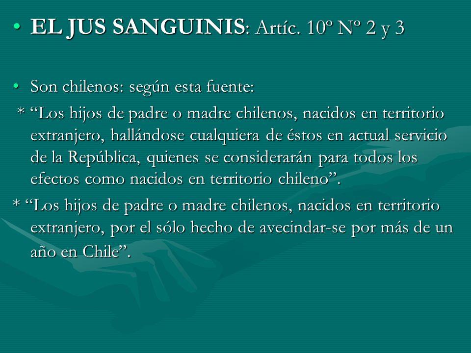 EL JUS SANGUINIS : Artíc. 10º Nº 2 y 3EL JUS SANGUINIS : Artíc. 10º Nº 2 y 3 Son chilenos: según esta fuente:Son chilenos: según esta fuente: * Los hi