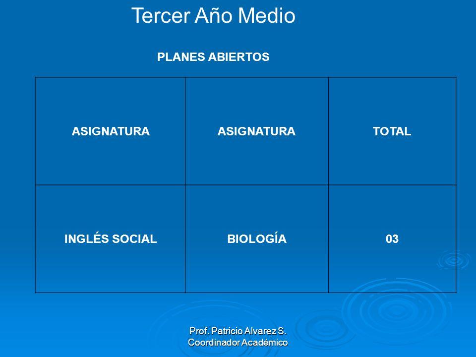 Prof. Patricio Alvarez S. Coordinador Académico ASIGNATURA TOTAL INGLÉS SOCIALBIOLOGÍA03 Tercer Año Medio PLANES ABIERTOS