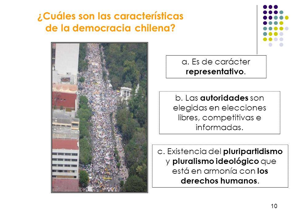 10 ¿Cuáles son las características de la democracia chilena? a. Es de carácter representativo. b. Las autoridades son elegidas en elecciones libres, c