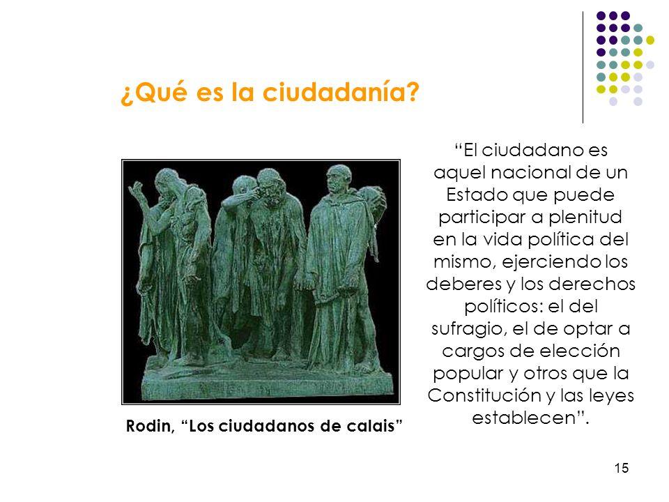 15 ¿Qué es la ciudadanía? El ciudadano es aquel nacional de un Estado que puede participar a plenitud en la vida política del mismo, ejerciendo los de