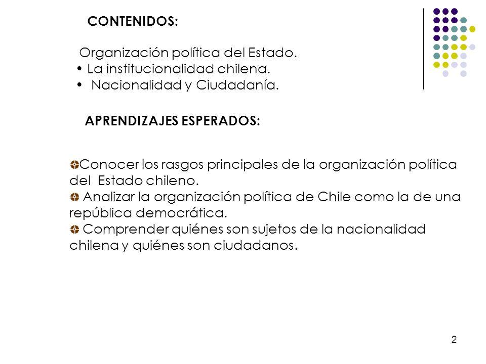 2 CONTENIDOS: APRENDIZAJES ESPERADOS: Organización política del Estado. La institucionalidad chilena. Nacionalidad y Ciudadanía. Conocer los rasgos pr