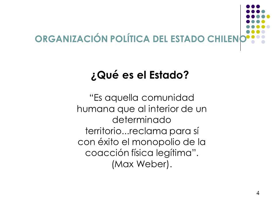 4 ORGANIZACIÓN POLÍTICA DEL ESTADO CHILENO ¿Qué es el Estado? Es aquella comunidad humana que al interior de un determinado territorio...reclama para