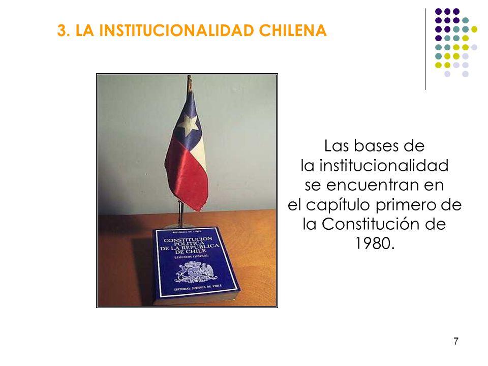 7 3. LA INSTITUCIONALIDAD CHILENA Las bases de la institucionalidad se encuentran en el capítulo primero de la Constitución de 1980.