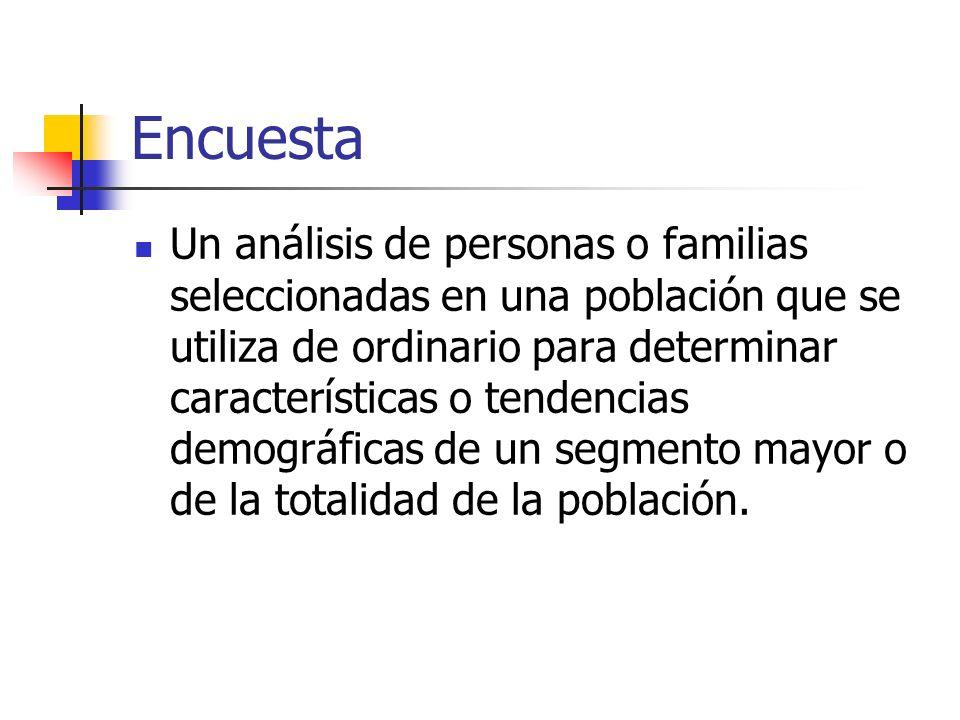 Encuesta Un análisis de personas o familias seleccionadas en una población que se utiliza de ordinario para determinar características o tendencias de