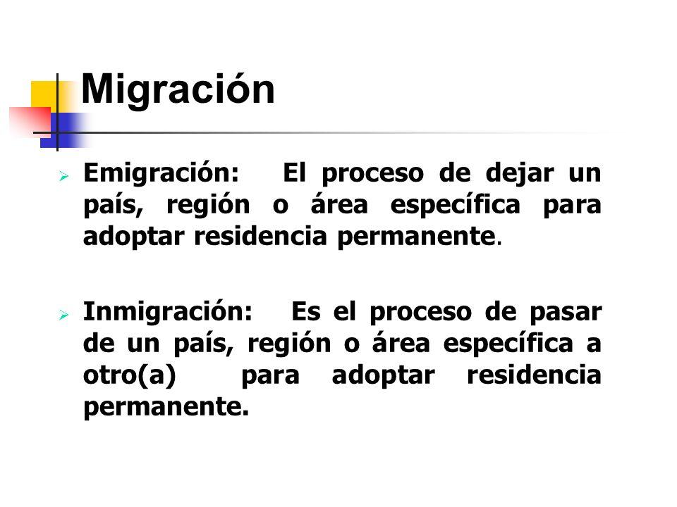 Migración Emigración: El proceso de dejar un país, región o área específica para adoptar residencia permanente. Inmigración: Es el proceso de pasar de