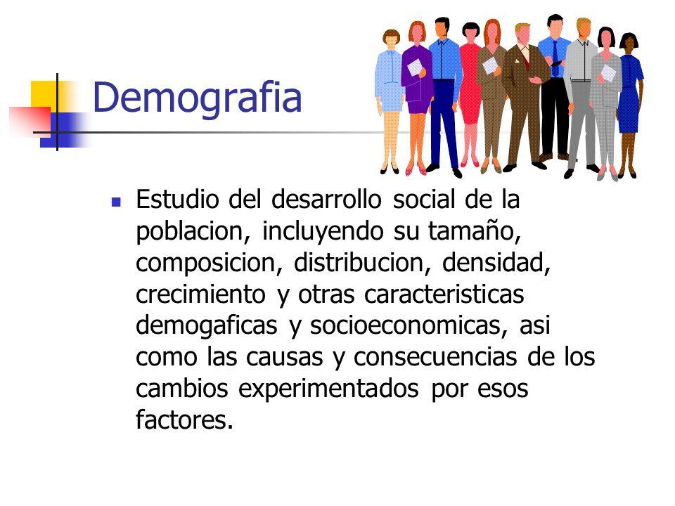 Demografia Estudio del desarrollo social de la poblacion, incluyendo su tamaño, composicion, distribucion, densidad, crecimiento y otras caracteristic