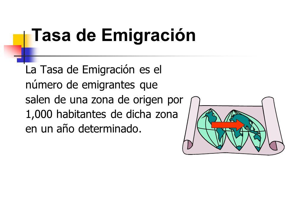 Tasa de Emigración La Tasa de Emigración es el número de emigrantes que salen de una zona de origen por 1,000 habitantes de dicha zona en un año deter