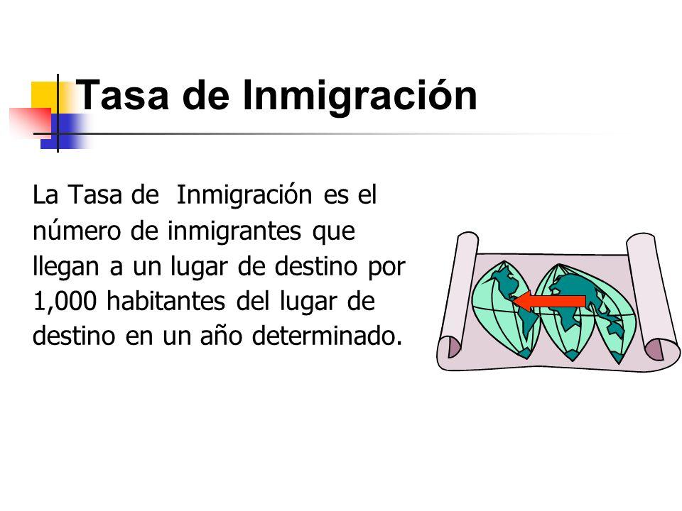 Tasa de Inmigración La Tasa de Inmigración es el número de inmigrantes que llegan a un lugar de destino por 1,000 habitantes del lugar de destino en u