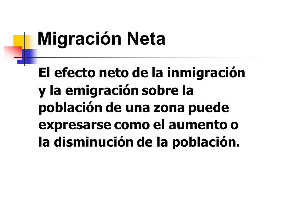 Migración Neta El efecto neto de la inmigración y la emigración sobre la población de una zona puede expresarse como el aumento o la disminución de la