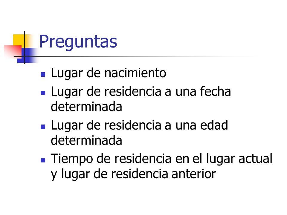 Preguntas Lugar de nacimiento Lugar de residencia a una fecha determinada Lugar de residencia a una edad determinada Tiempo de residencia en el lugar