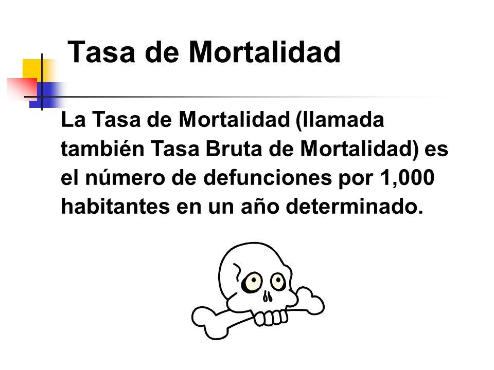 Tasa de Mortalidad La Tasa de Mortalidad (llamada también Tasa Bruta de Mortalidad) es el número de defunciones por 1,000 habitantes en un año determi