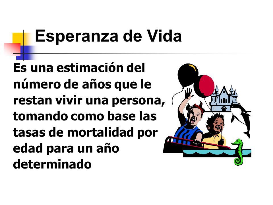 Esperanza de Vida Es una estimación del número de años que le restan vivir una persona, tomando como base las tasas de mortalidad por edad para un año