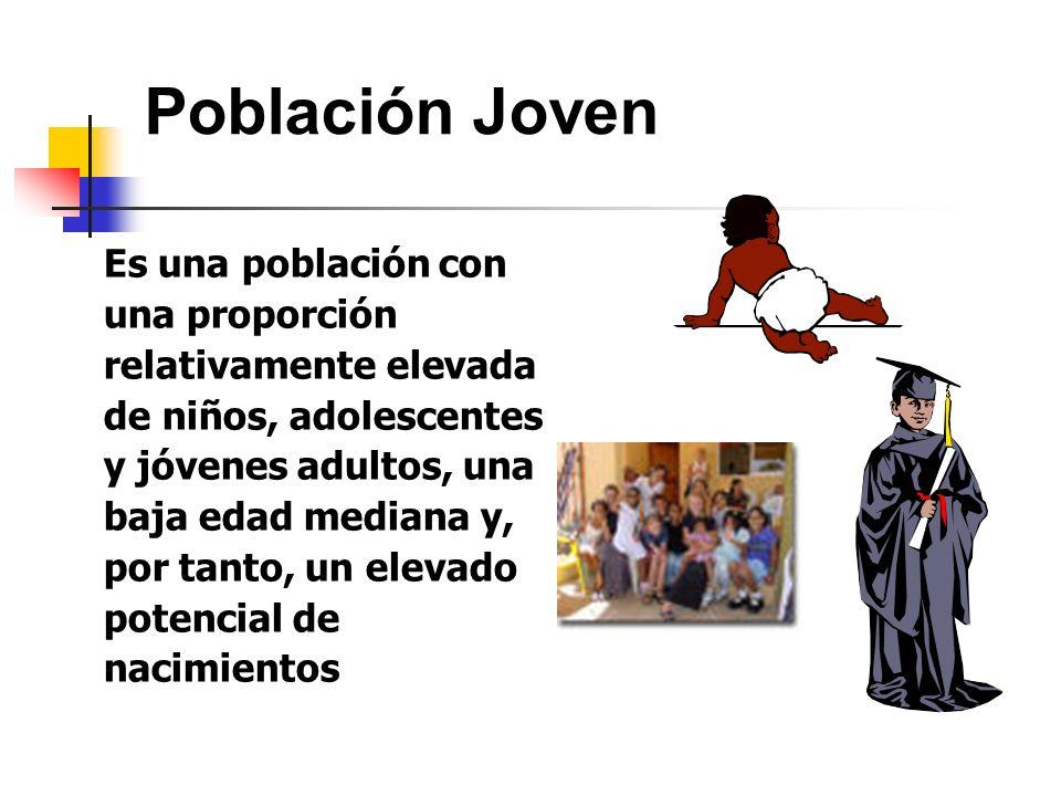 Población Joven Es una población con una proporción relativamente elevada de niños, adolescentes y jóvenes adultos, una baja edad mediana y, por tanto