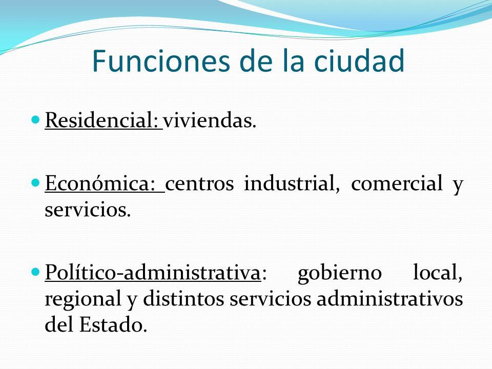 Funciones de la ciudad Residencial: viviendas. Económica: centros industrial, comercial y servicios. Político-administrativa: gobierno local, regional