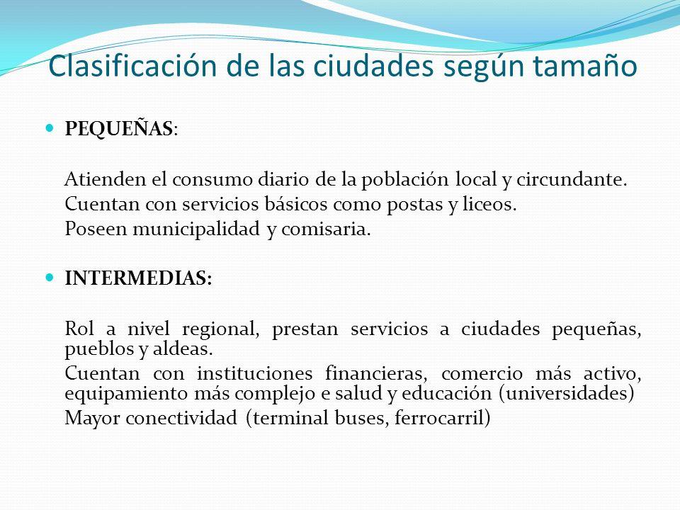 Clasificación de las ciudades según tamaño PEQUEÑAS: Atienden el consumo diario de la población local y circundante. Cuentan con servicios básicos com
