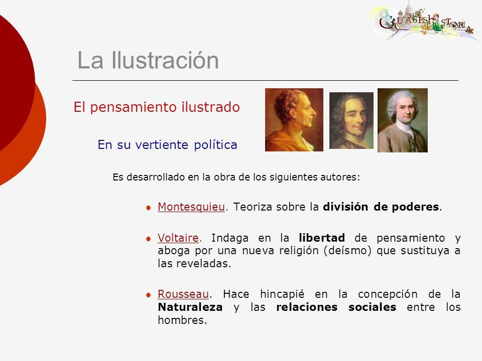 El pensamiento ilustrado En su vertiente política Es desarrollado en la obra de los siguientes autores: Montesquieu. Teoriza sobre la división de pode