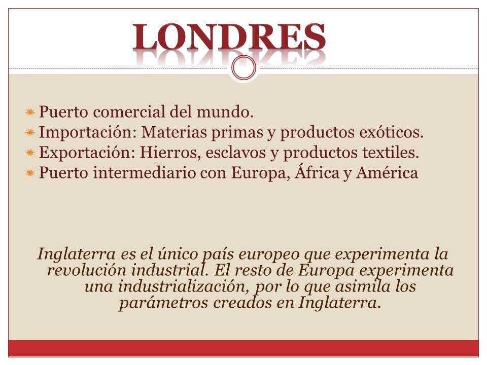 Puerto comercial del mundo. Importación: Materias primas y productos exóticos. Exportación: Hierros, esclavos y productos textiles. Puerto intermediar