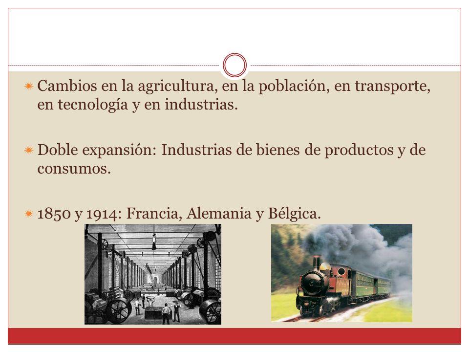 Cambios en la agricultura, en la población, en transporte, en tecnología y en industrias. Doble expansión: Industrias de bienes de productos y de cons