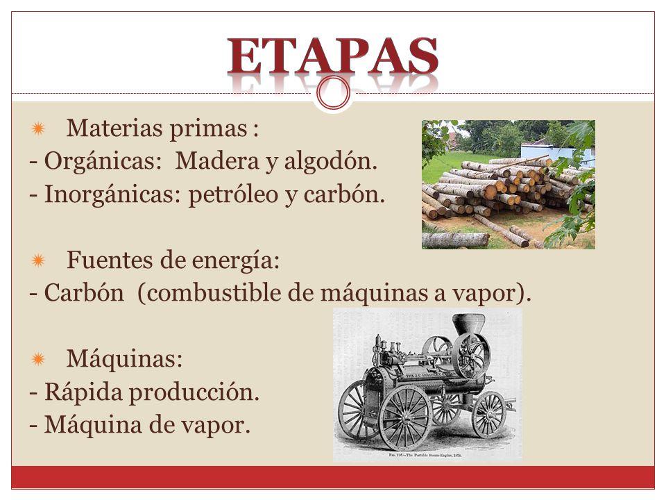 Materias primas : - Orgánicas: Madera y algodón. - Inorgánicas: petróleo y carbón. Fuentes de energía: - Carbón (combustible de máquinas a vapor). Máq